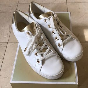 Michael Kors Gold and White Daisy Sneakers EUC